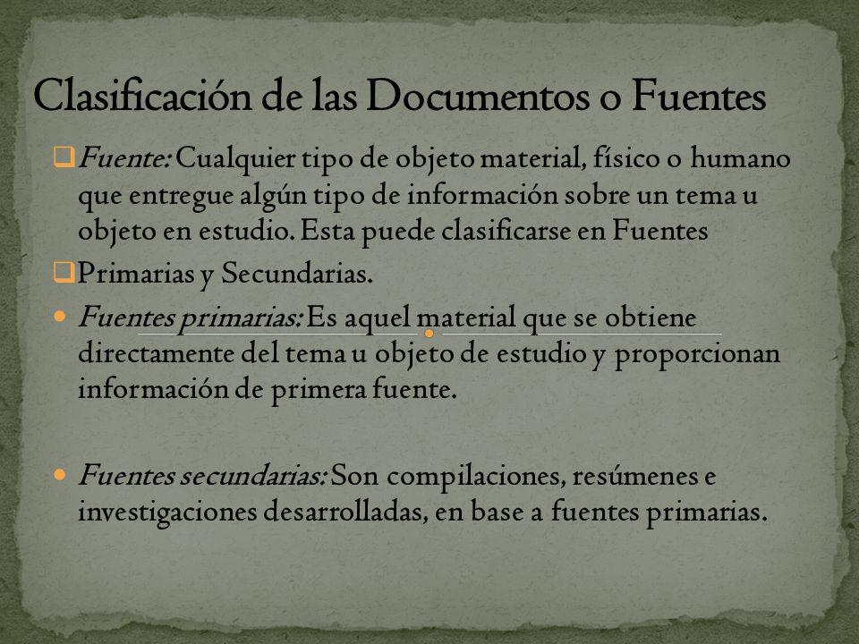 Clasificación de las Documentos o Fuentes