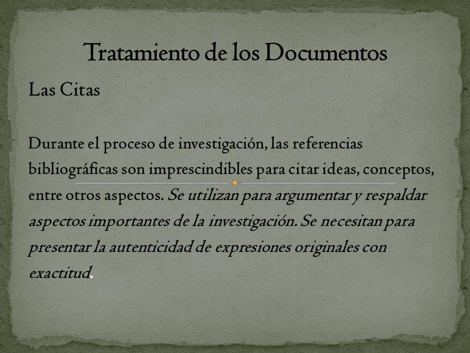 Tratamiento de los Documentos