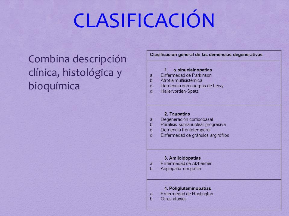 CLASIFICACIÓN Combina descripción clínica, histológica y bioquímica