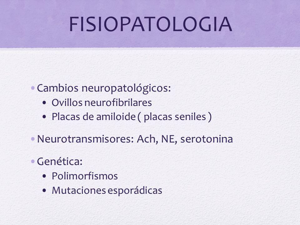 FISIOPATOLOGIA Cambios neuropatológicos: