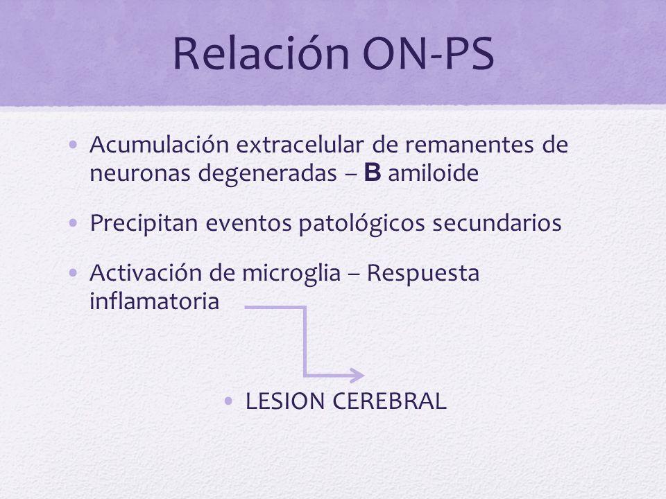 Relación ON-PS Acumulación extracelular de remanentes de neuronas degeneradas – B amiloide. Precipitan eventos patológicos secundarios.
