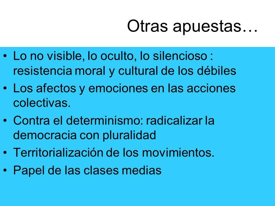 Otras apuestas…Lo no visible, lo oculto, lo silencioso : resistencia moral y cultural de los débiles.