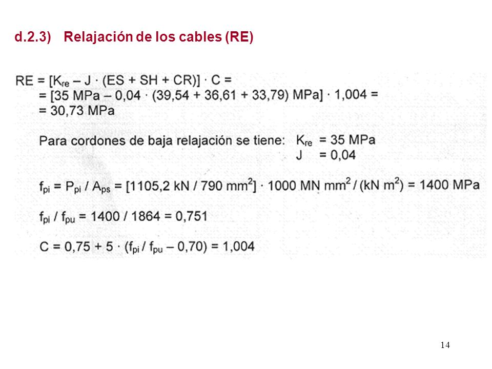 d.2.3) Relajación de los cables (RE)