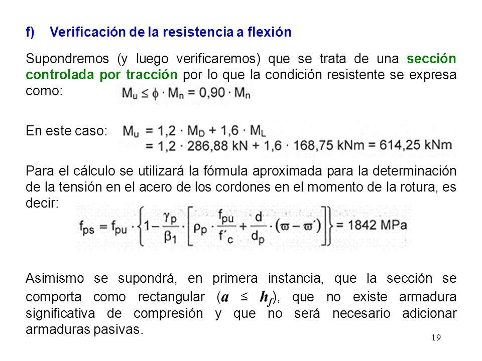 f) Verificación de la resistencia a flexión