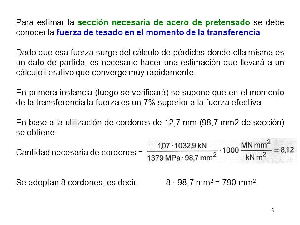 Para estimar la sección necesaria de acero de pretensado se debe conocer la fuerza de tesado en el momento de la transferencia.