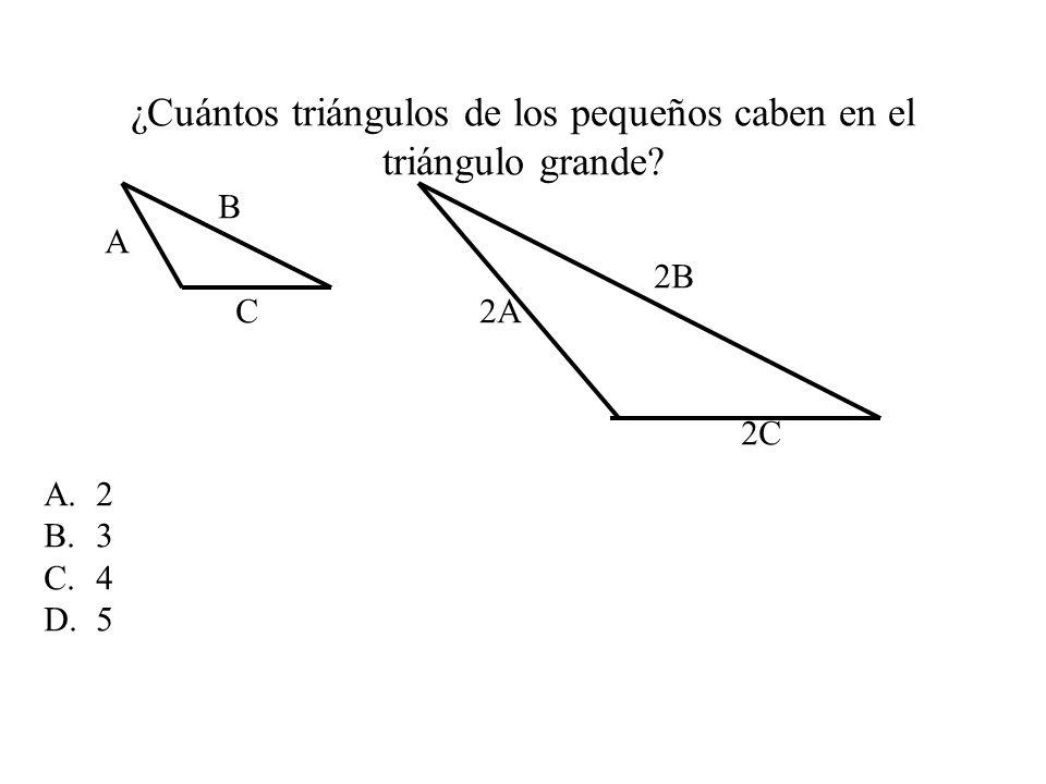 ¿Cuántos triángulos de los pequeños caben en el triángulo grande