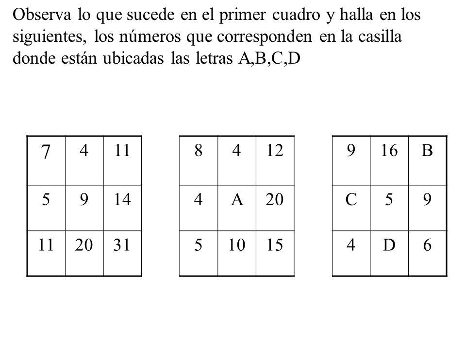 Observa lo que sucede en el primer cuadro y halla en los siguientes, los números que corresponden en la casilla donde están ubicadas las letras A,B,C,D