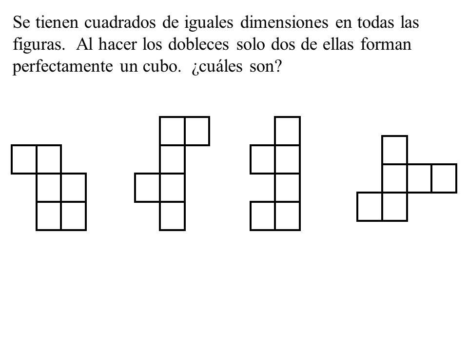 Se tienen cuadrados de iguales dimensiones en todas las figuras