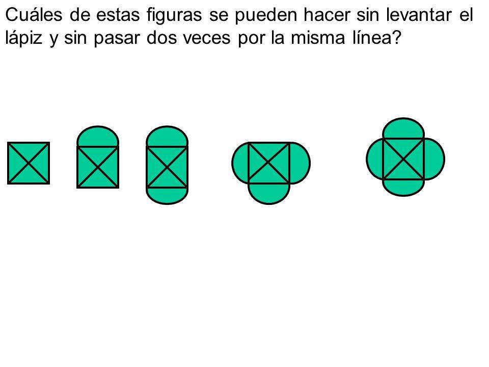 Cuáles de estas figuras se pueden hacer sin levantar el lápiz y sin pasar dos veces por la misma línea