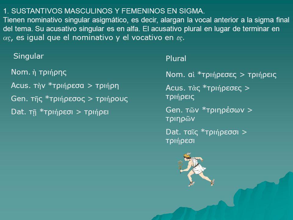 1. SUSTANTIVOS MASCULINOS Y FEMENINOS EN SIGMA.