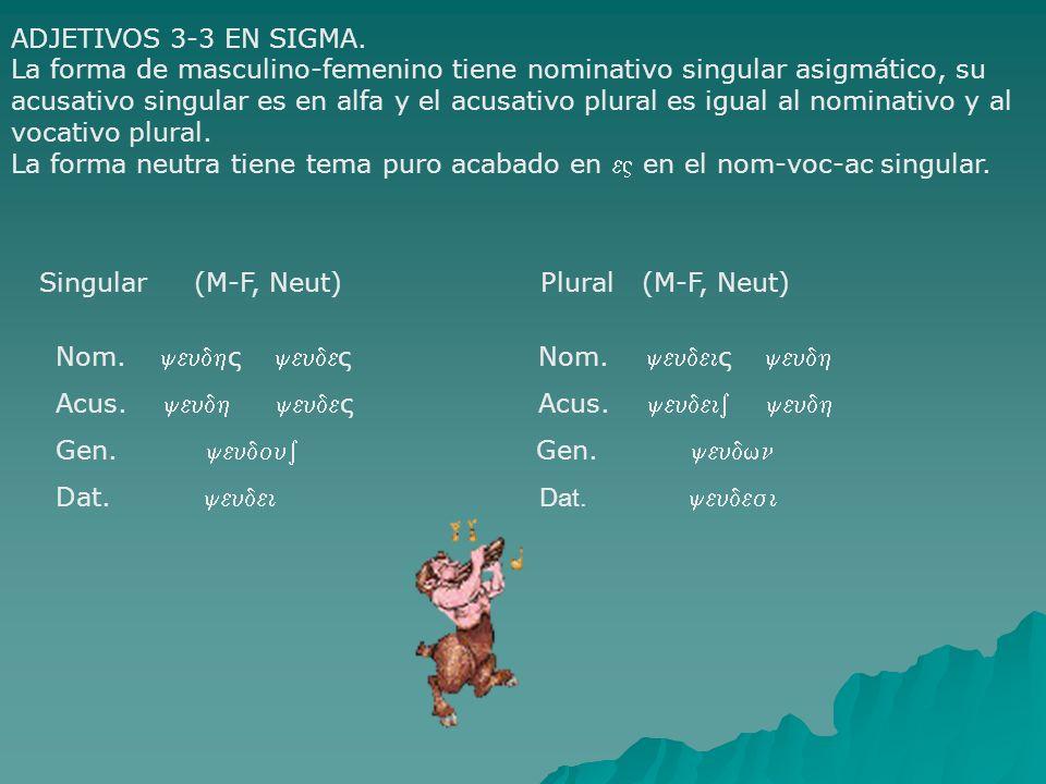 ADJETIVOS 3-3 EN SIGMA. La forma de masculino-femenino tiene nominativo singular asigmático, su.