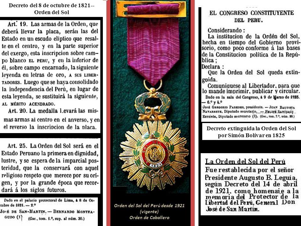 Decreto del 8 de octubre de 1821--Orden del Sol