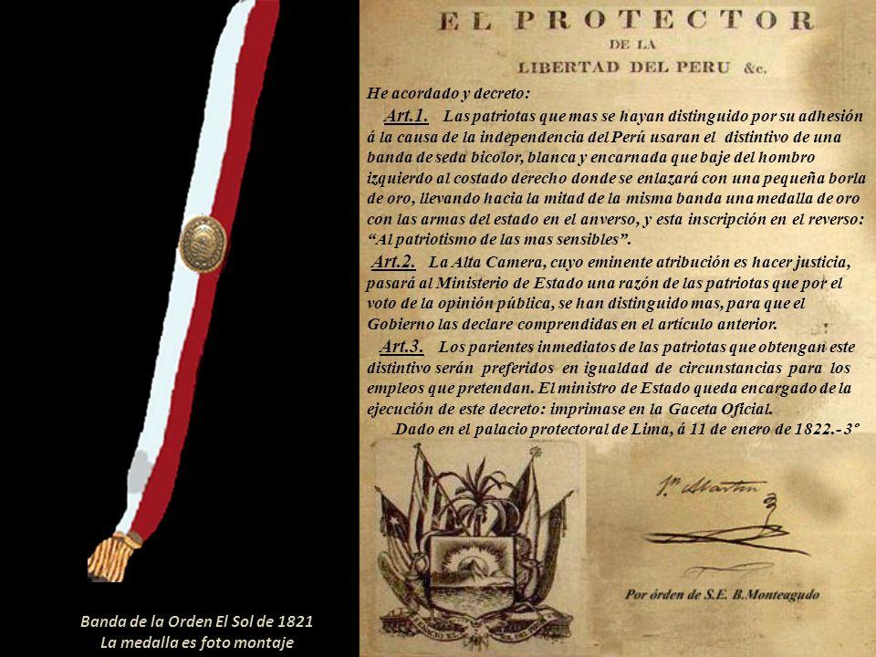 Banda de la Orden El Sol de 1821 La medalla es foto montaje