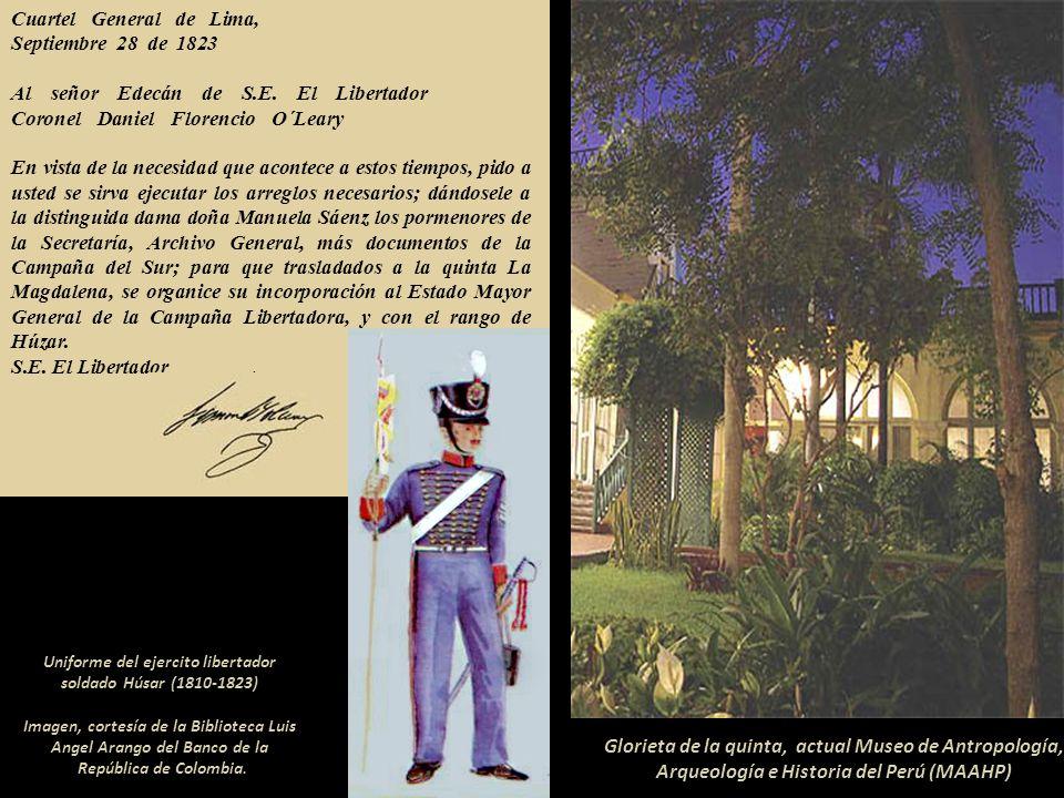 Cuartel General de Lima,. Septiembre 28 de 1823. Al señor Edecán de S