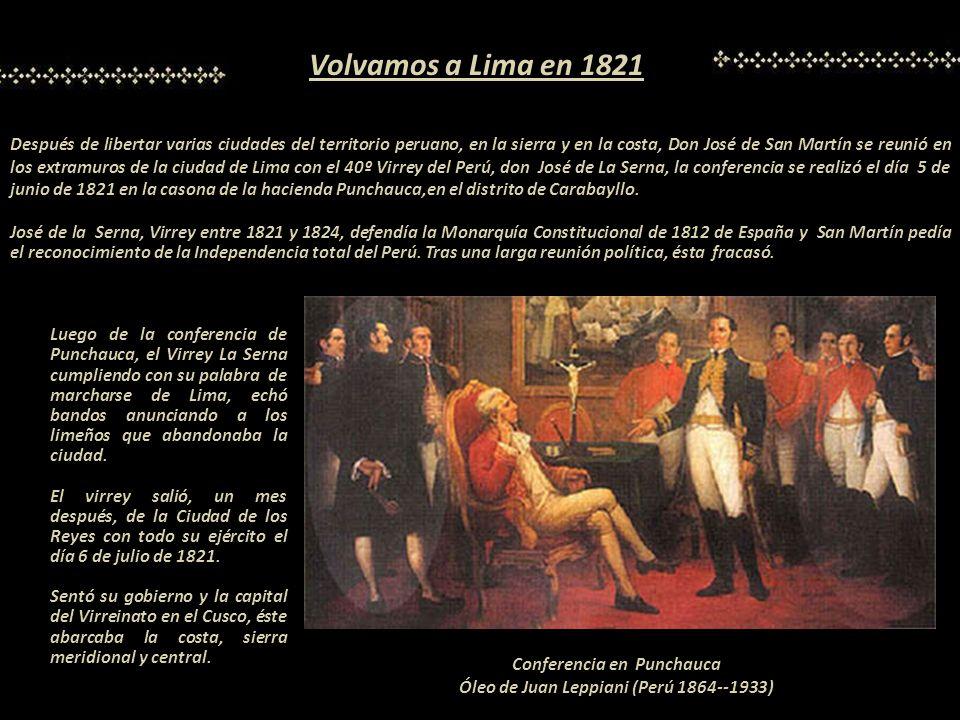 Conferencia en Punchauca Óleo de Juan Leppiani (Perú 1864--1933)