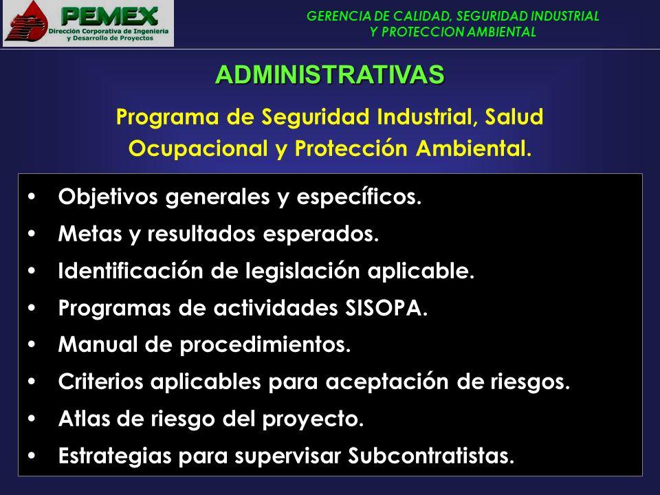 ADMINISTRATIVAS Programa de Seguridad Industrial, Salud