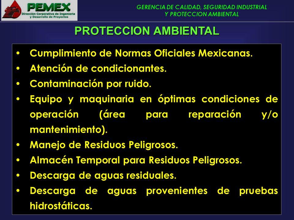 PROTECCION AMBIENTAL Cumplimiento de Normas Oficiales Mexicanas.