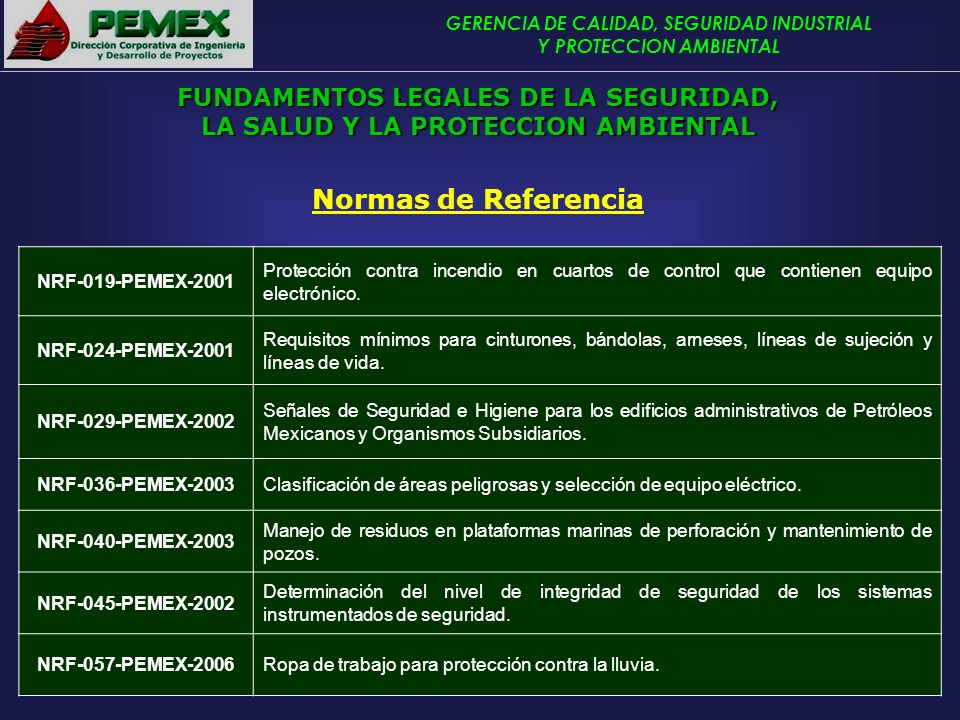 Normas de Referencia FUNDAMENTOS LEGALES DE LA SEGURIDAD,