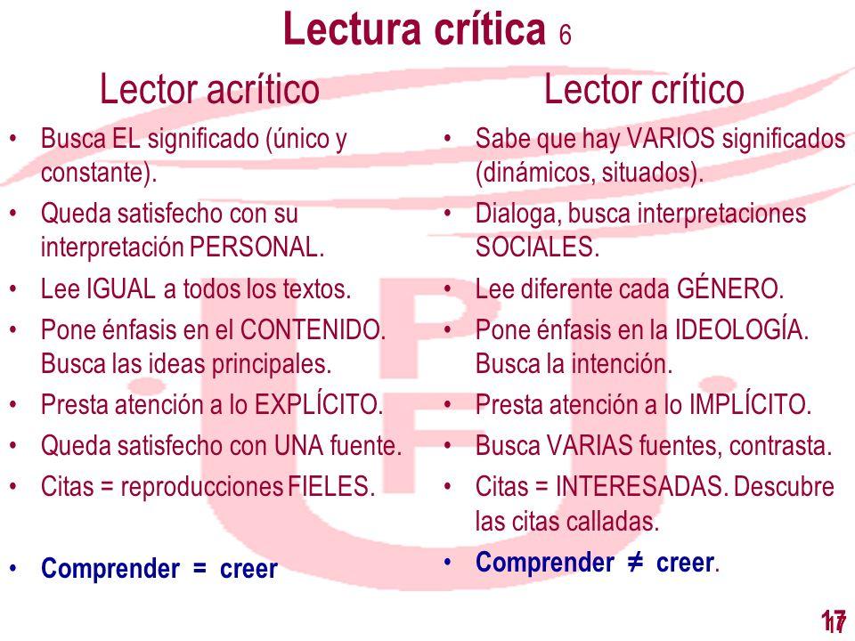 Lectura crítica 6 Lector acrítico Lector crítico