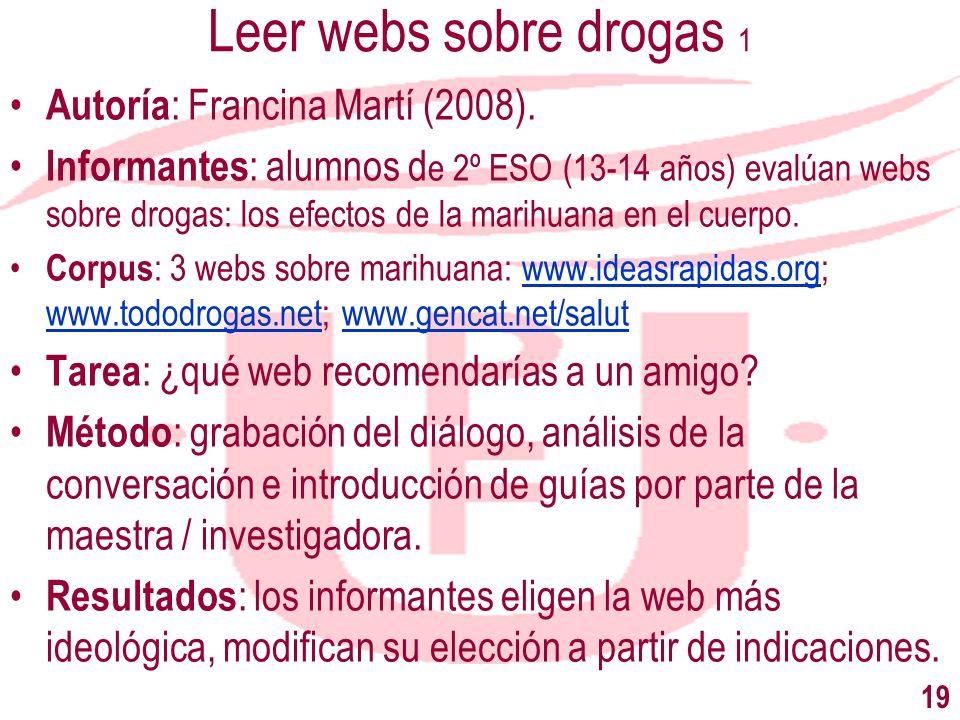 Leer webs sobre drogas 1 Autoría: Francina Martí (2008).