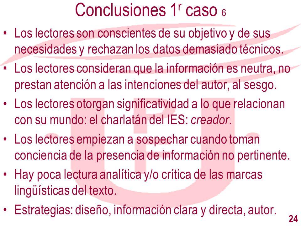 Conclusiones 1r caso 6Los lectores son conscientes de su objetivo y de sus necesidades y rechazan los datos demasiado técnicos.