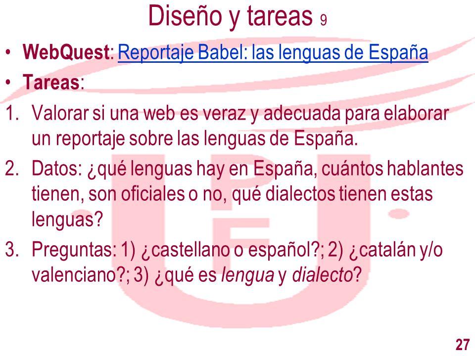 Diseño y tareas 9 WebQuest: Reportaje Babel: las lenguas de España