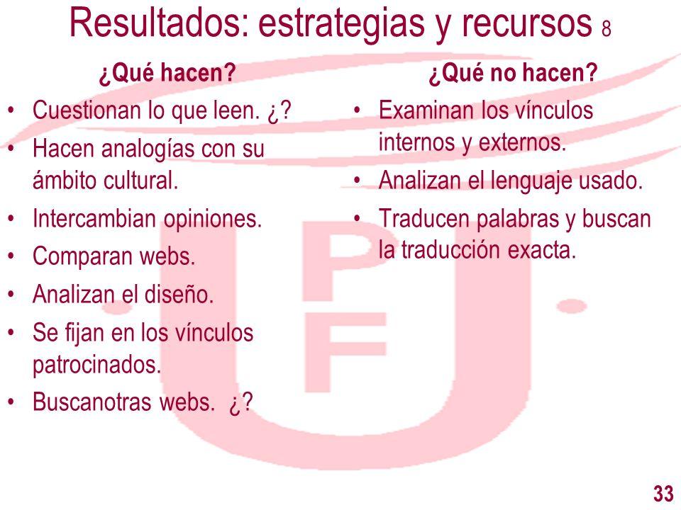 Resultados: estrategias y recursos 8