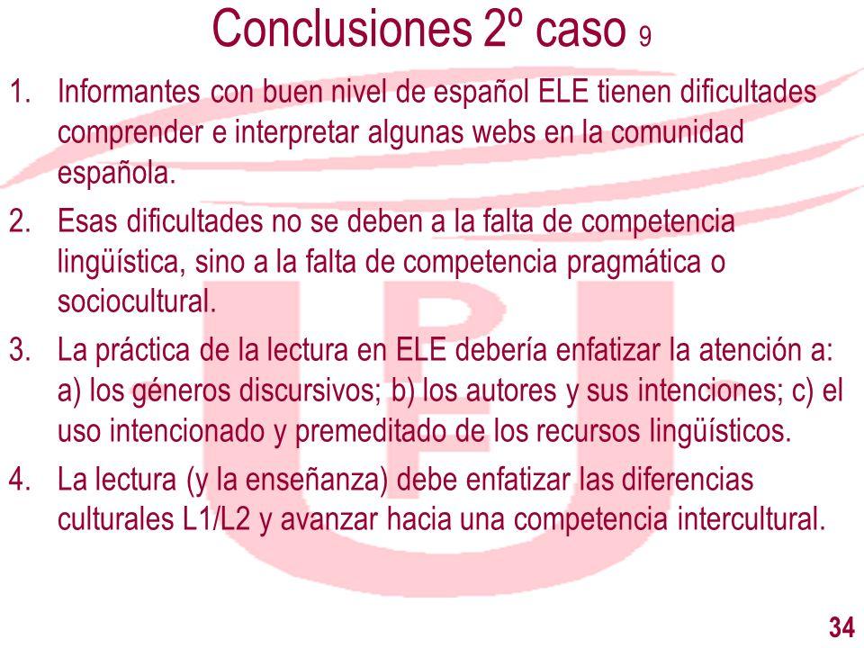 Conclusiones 2º caso 9Informantes con buen nivel de español ELE tienen dificultades comprender e interpretar algunas webs en la comunidad española.