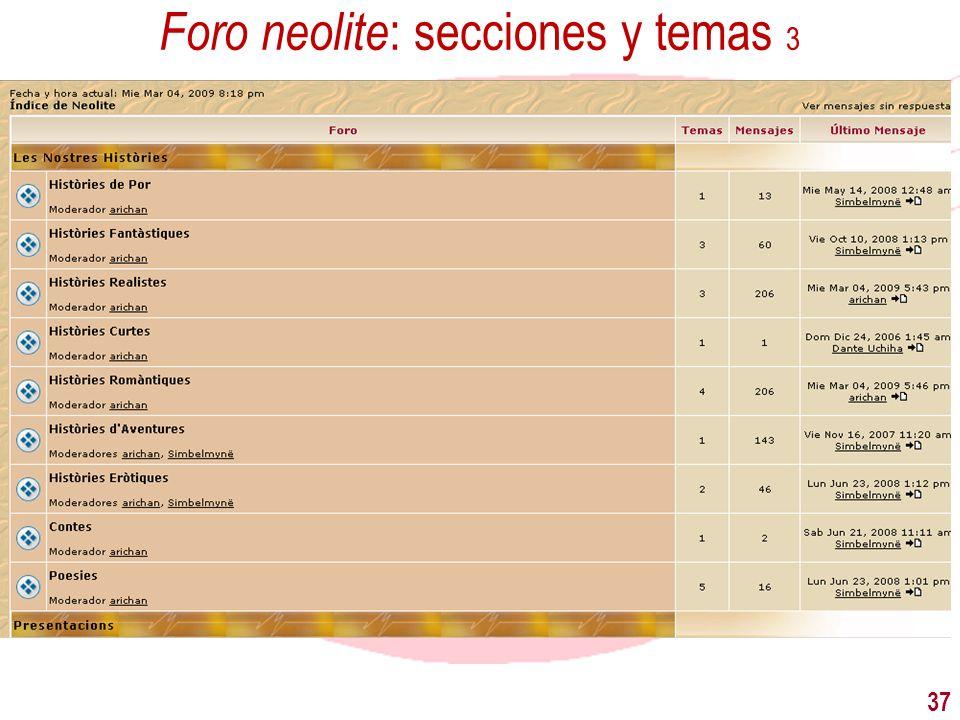 Foro neolite: secciones y temas 3