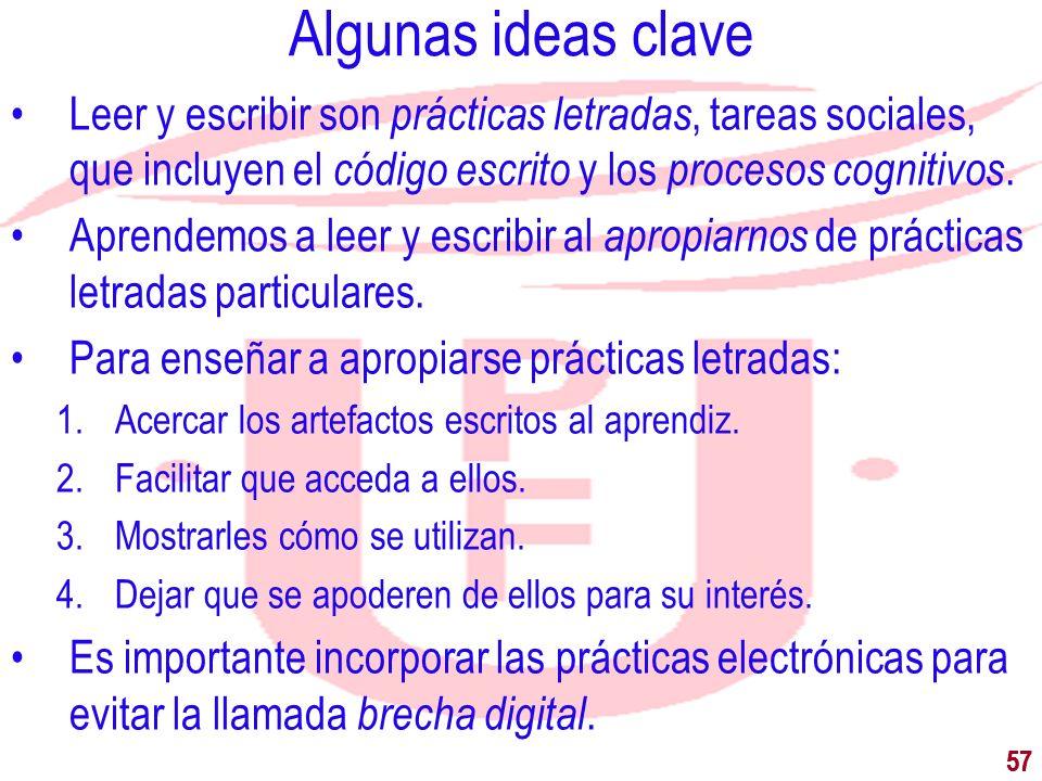 Algunas ideas claveLeer y escribir son prácticas letradas, tareas sociales, que incluyen el código escrito y los procesos cognitivos.