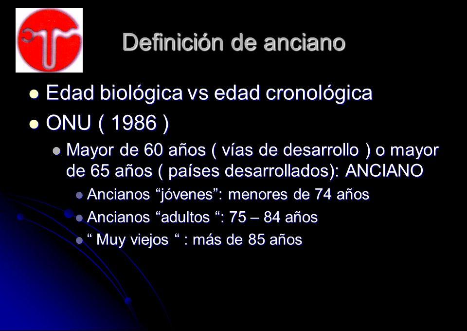 Definición de anciano Edad biológica vs edad cronológica ONU ( 1986 )