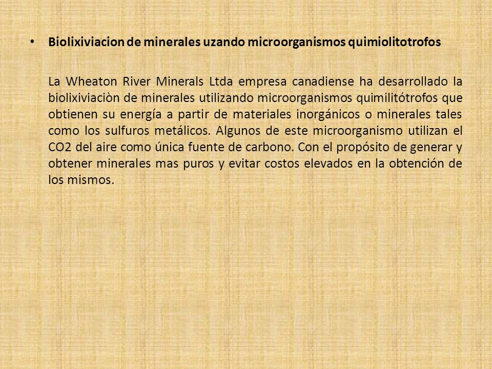 Biolixiviacion de minerales uzando microorganismos quimiolitotrofos