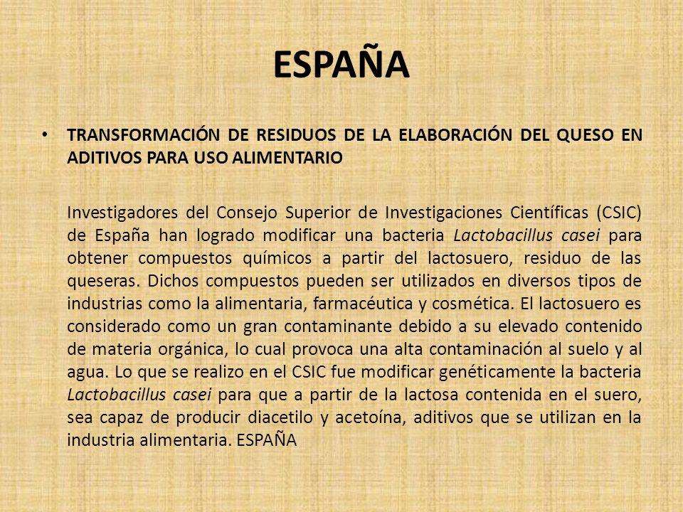ESPAÑA TRANSFORMACIÓN DE RESIDUOS DE LA ELABORACIÓN DEL QUESO EN ADITIVOS PARA USO ALIMENTARIO.