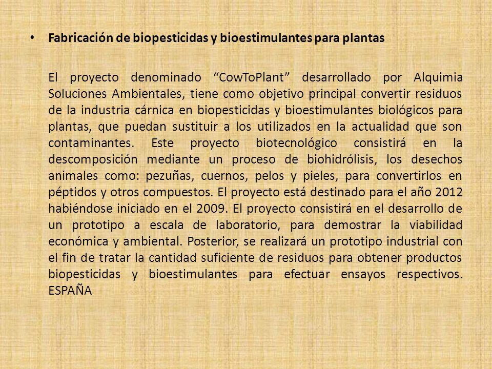 Fabricación de biopesticidas y bioestimulantes para plantas