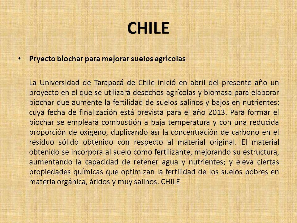 CHILE Pryecto biochar para mejorar suelos agricolas