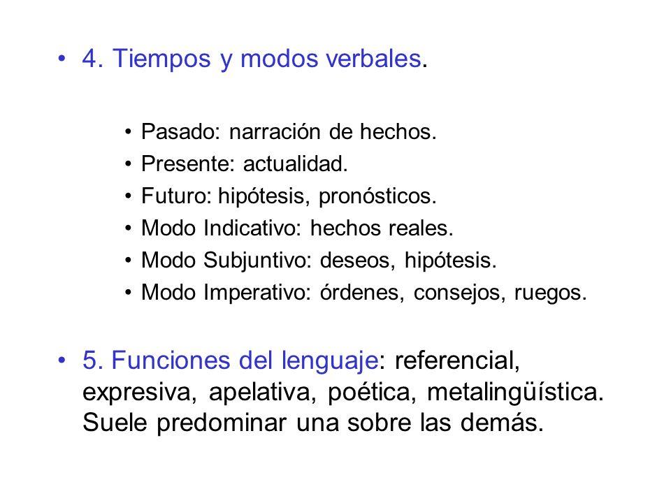 4. Tiempos y modos verbales.