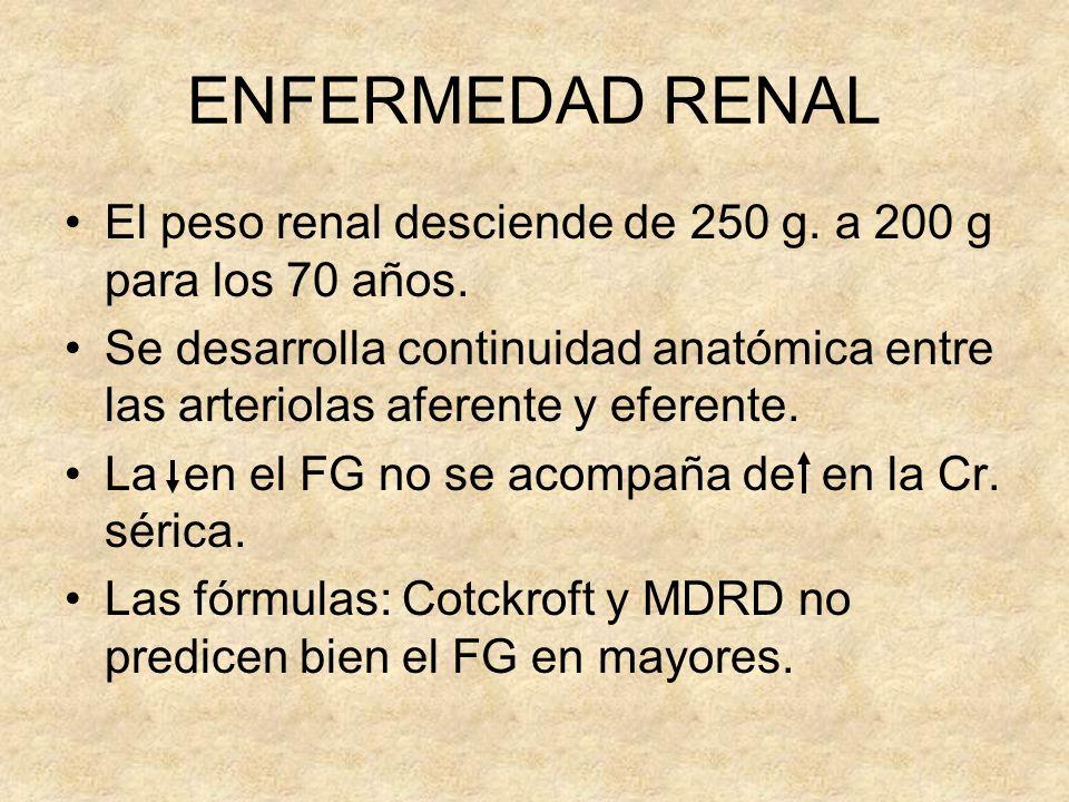 ENFERMEDAD RENAL El peso renal desciende de 250 g. a 200 g para los 70 años.