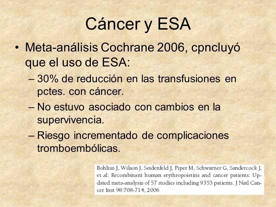 Cáncer y ESA Meta-análisis Cochrane 2006, cpncluyó que el uso de ESA: