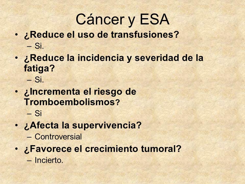 Cáncer y ESA ¿Reduce el uso de transfusiones