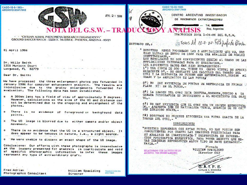 NOTA DEL G.S.W. – TRADUCCION Y ANALISIS