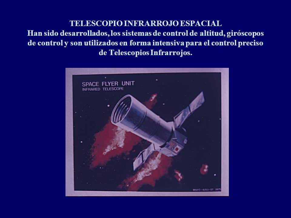 TELESCOPIO INFRARROJO ESPACIAL Han sido desarrollados, los sistemas de control de altitud, giróscopos de control y son utilizados en forma intensiva para el control preciso de Telescopios Infrarrojos.