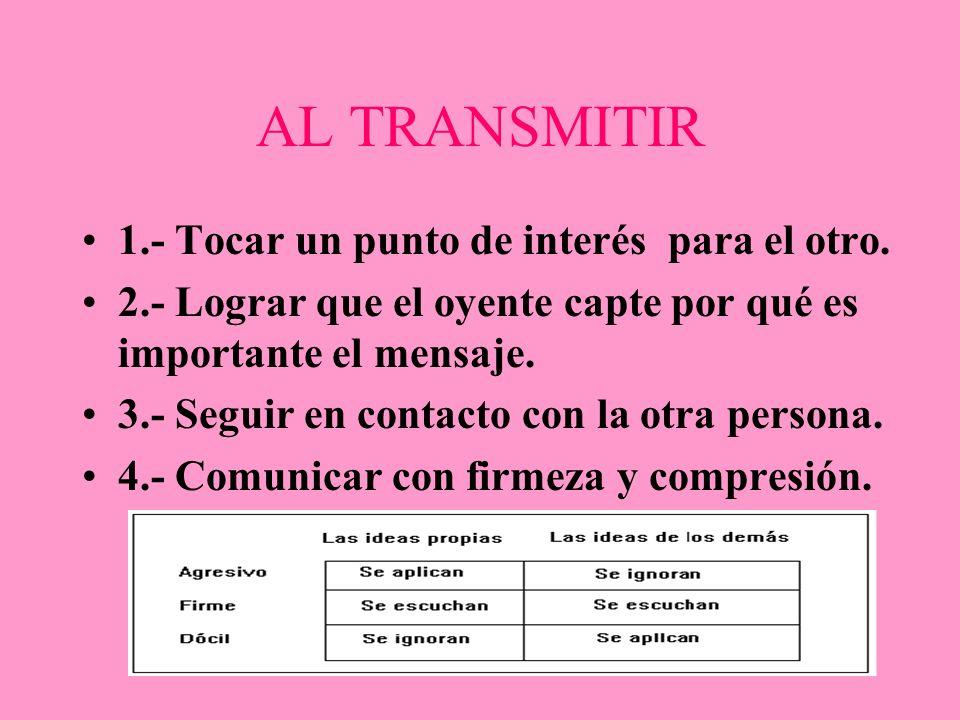 AL TRANSMITIR 1.- Tocar un punto de interés para el otro.