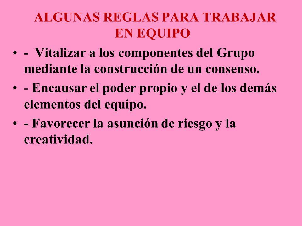 ALGUNAS REGLAS PARA TRABAJAR EN EQUIPO