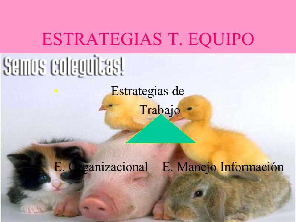 ESTRATEGIAS T. EQUIPO Estrategias de Trabajo