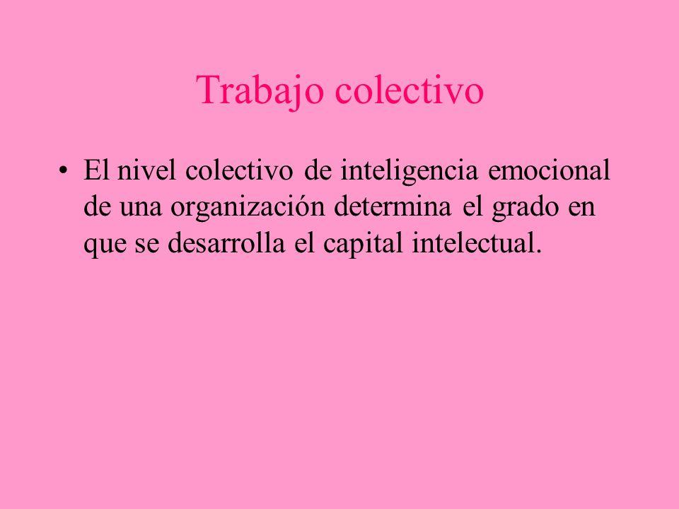 Trabajo colectivo El nivel colectivo de inteligencia emocional de una organización determina el grado en que se desarrolla el capital intelectual.