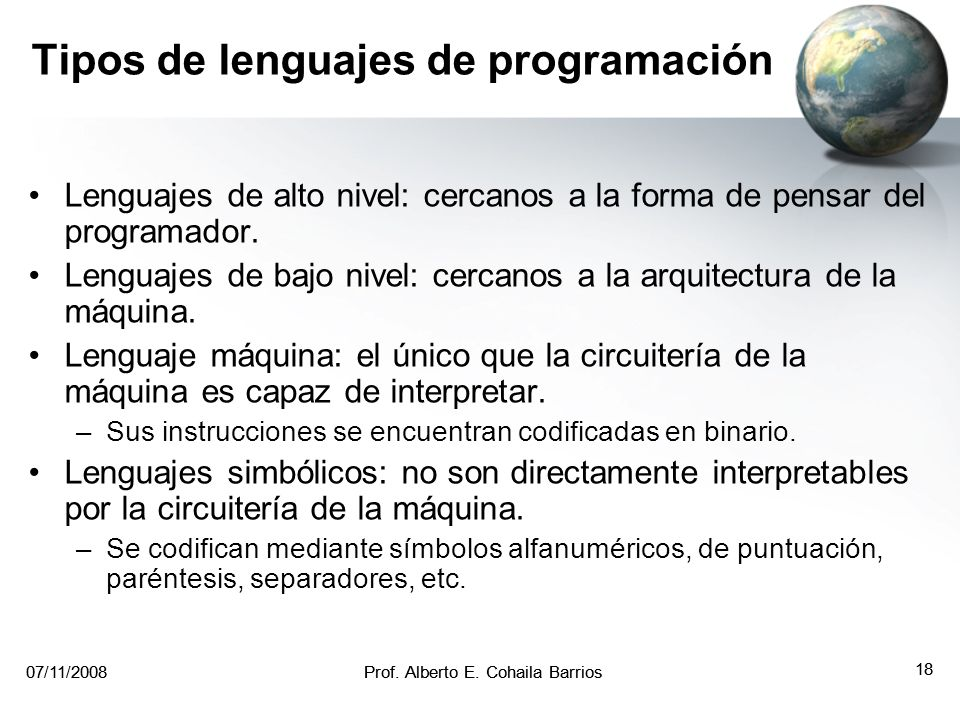 Tipos de lenguajes de programación