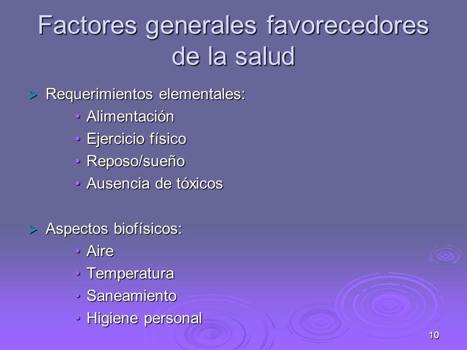 Factores generales favorecedores de la salud