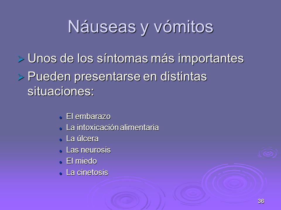 Náuseas y vómitos Unos de los síntomas más importantes