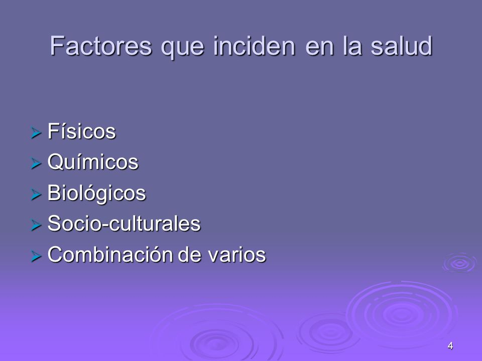 Factores que inciden en la salud