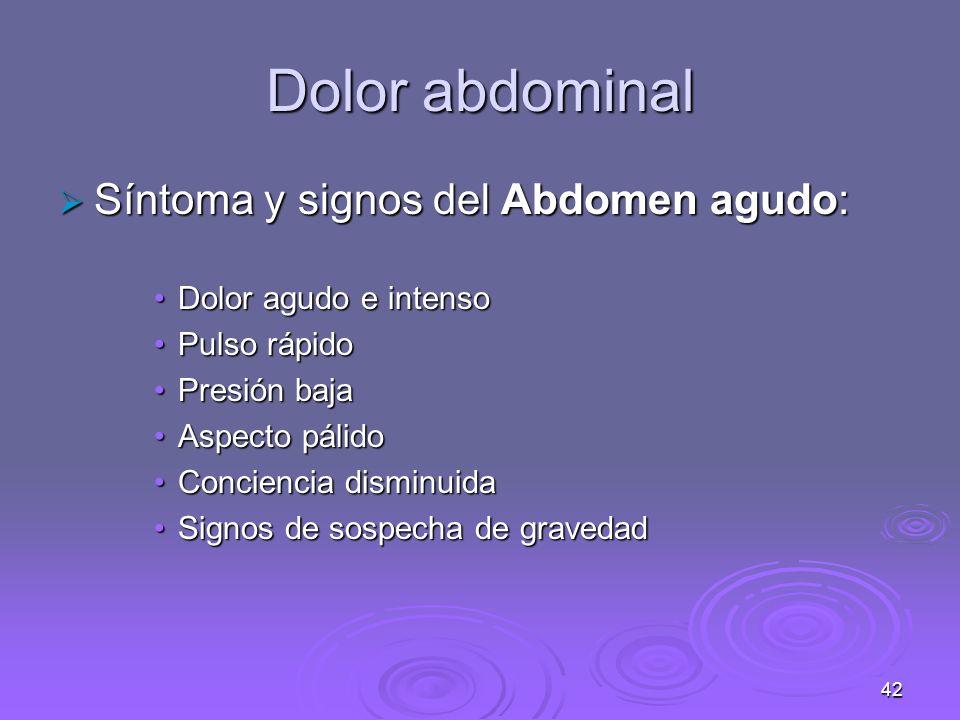 Dolor abdominal Síntoma y signos del Abdomen agudo: